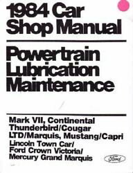 Oem Repair Shop Manual Loose Leaf For Mercury Capri, Cougar, Marquis 1984