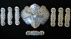 Large Antique Russian 84 Silver Hand Crafted Enamel Belt Buckle + 7 Loops Signed