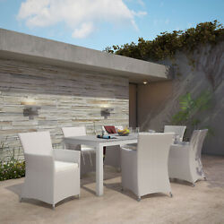 Modway Junction Wicker Rattan Outdoor Patio 7-piece Dining Set In Gray White