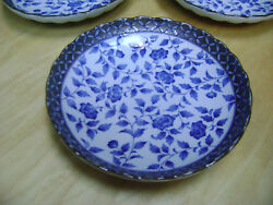 Takahashi San Francisco Floral Salad Plate White With Blue Flowers X 3
