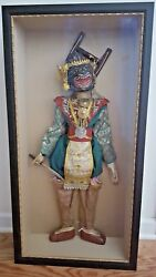 Rare Antique Wooden/ Fabric Puppet Marionette Inside Museum Glass Protector