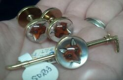 Antique/estate English Crystal Cufflinks And Pin Sweetheart Set