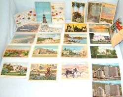 Lot Of 24 Vintage 1940s Linen Post Cards In Excellent Conditions