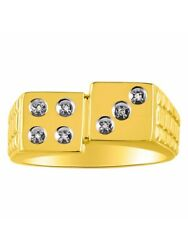 Diamond Ring 14k Yellow Or 14k White Gold Lucky 7 Dice Ring Craps Mr3063dy-c