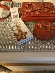 New Michael Kors Orange Flowers Crossbody+coin Purse + Flora Keychain NWT