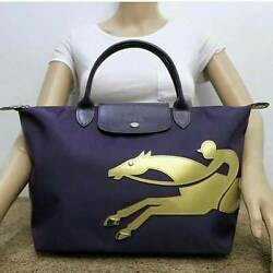 Longchamp Le Pliage Cavalier Medium NAVY Gold Bag  Asia Limited Edition Sold Out