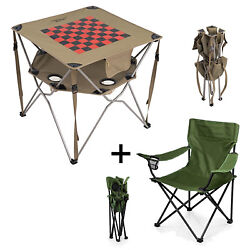 Portable Camping Table Checkerboard and Camp Chair Foldable Compact Outing Set