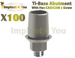 X100 Dental Implant Ti-base Cad/cam With Hex + Screws Compatible Hexagon 2.42