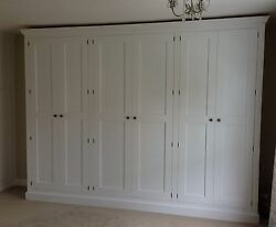 Painted Shaker Style Full Hanging 6 Door Wardrobe - With Plinth