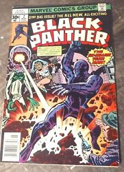 MARCH 1977 #2 BLACK PANTHER COMIC BOOK 2ND ISSUE RARE MARVEL SUPER HERO