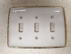 Vintage Yale and Towne Porcelain Triple Light Switch Plate Cover Gold Gilt