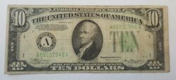 1934a 10 Bill American Currency Ten Dollar Federal Reserve Note Usa Small Face