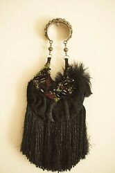 BAGTERIA ❊ Fur Beaded Fringe Evening bagpouch ❊ Silver Handle ❊ Black