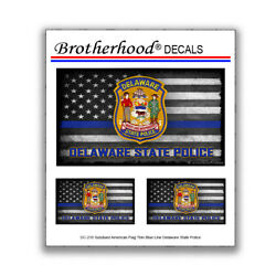 Subdued American Flag Thin Blue Line Delaware State Police 3 Pc Decal Collection