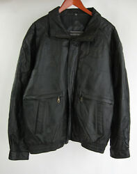 David Taylor Black Xl Leather Coat Quilted Lining Motorcycle Bomber Jacket