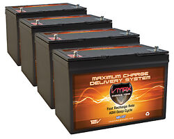 Qty4 Vmax Mr127-100 Agm Grp 27 Batteries For 48v Electrictrolling Outboard Motor