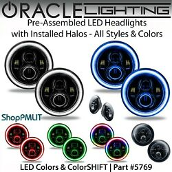Oracle Pre-assembled Black - High Power Led Halo 7 Round Headlights All Colors