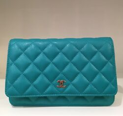CHANEL Timeless Classic Wallet On Chain Quilted Caviar Crossbody Bag Turquoise