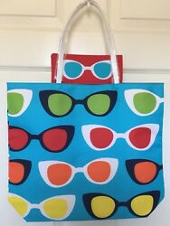 Estee Lauder Lisa Perry Design Beach Tote Bag With A Sunglasses Pouch $8.99