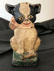 Antique BOSTON TERRIER HUBLEY BOOK END IMP design Grace Raynor 1921 CAST IRON