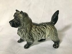 Vintage Dog Statue Petite Size Possibly Cairn Terrier EUC Gray and Black NR