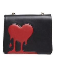 LOVE MOSCHINO Faux Leather MELTING HEART Shoulder Bag Gold Chain REDBLACK ~NWT!