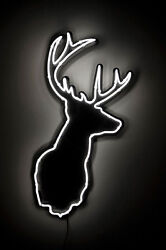 New Deer Buck Stag Welcome Hunters Man Cave Neon Sign 20x16
