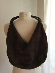 NORDSTROM chocolate brown suede hobo- made in Italy!