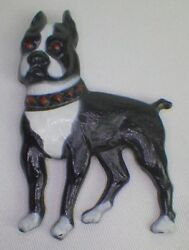 ENAMEL BOSTON TERRIER PIN  BROOCH WITH RED STUDDED COLLAR