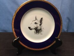 RARE VINTAGE BULL TERRIER Porcelain Rosalinde COLLECTOR'S PLATE by Cindy Farmer