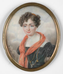 Octave Roland - Portrait Of A Young Lady High Quality Miniature 1826