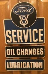 Ford Service Oil Changes Pub Style Tin Garage Man Cave Metal Signs Gas V-8 Chevy