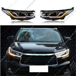 LED DRL Headlight HID Signal Stripe High+Low Beam k For Toyota Highlander 14-16