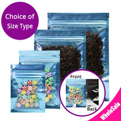 Multi-sizes Blue Glossy Flat Clear Front Foil Reusable Zip Lock Pouch Bag M7