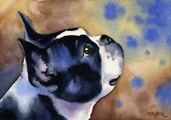 BOSTON TERRIER Painting Dog 8 x 10 ART Print Signed by Artist DJR