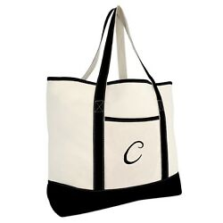 DALIX Monogram Bag Personalized Totes For Women Open Top Black Letter A Z $16.94