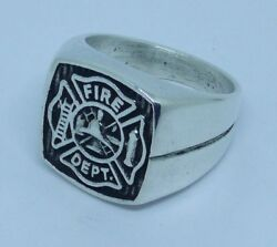 Anello Fire Dept In Argento 925 Ring In Solid Sterling Silver