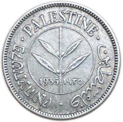 Vf Coin Silver 5,83 Gr Palestine 50 Mils Km6 1935 Middle East