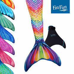 Kids Size Fin Fun Mermaid Tails Swimming Swimmable Includes Monofin Flipper