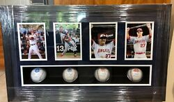 Rare Mike Trout Shadow Box ASG Collage- 4 MLB Hologram Baseballs-Hits for Cycle