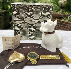 JUDITH LEIBER WESTIE HIGHLAND TERRIER WHITE SCOTTIE DOG SWAROVSKI CRYSTAL PURSE