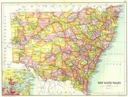 New South Wales. State Map Showing Counties Inset Map Of Sydney. Australia 1909