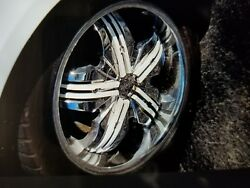 Sold  17x7.5 Inch Chrome Wheels And Five Used Tires