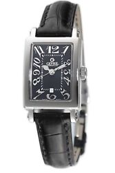 Gevril Womenand039s 8042n Super Mini Rectangular Black Dial Leather Date Watch