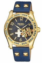 Rebel Women's Gravesend Watch Rb111-9141 Blue Puzzle Piece Dial Blue Leather