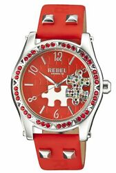 Rebel Women's Gravesend Watch Rb111-4051 Red Puzzle Piece Dial Red Leather