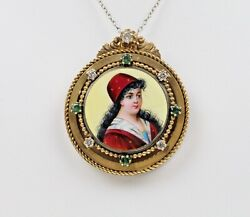 Vintage Victorian Enamel Portrait Pendant Pin Brooch With Diamonds And Emeralds