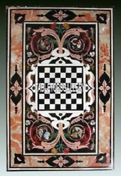Garden Art Marble Dining Chess Table Top Inlaid Marquetry Stone Home Decor H4007