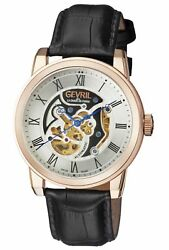 Gevril Menand039s Vanderbilt Watch 2694 Automatic Rose-gold Ip Steel Leather
