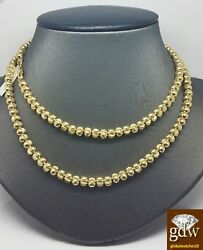 Real 10k Yellow Gold Moon Cut Chain 28 Inches 5mm Men/womennew Cubanfranco N